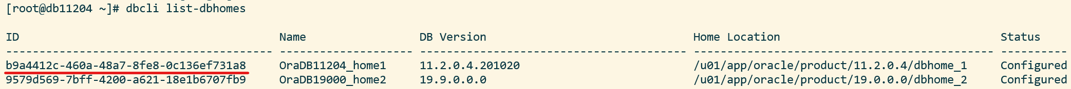 Output from dbcli command that list all Oracle Homes - list-dbhomes