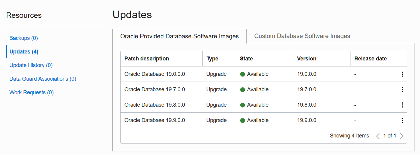 When you upgrade you can choose an Oracle provided image, or your own custom database software image