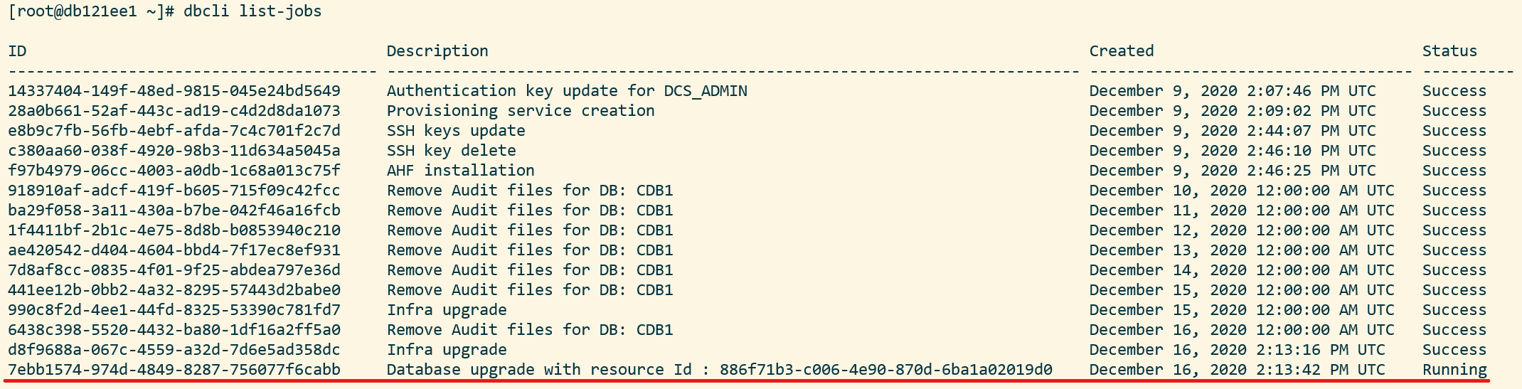 Use dbcli list-jobs to list the jobs - including the upgrade - that run on the host