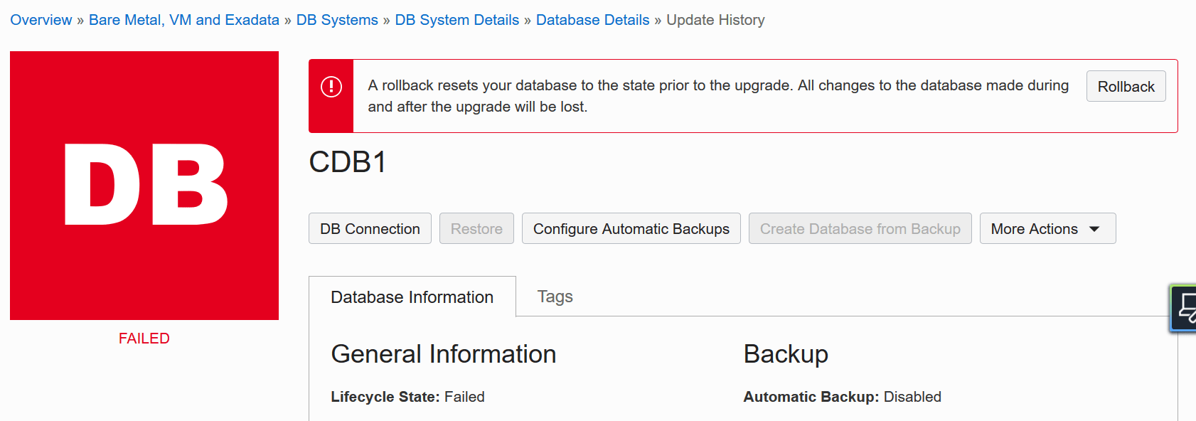 If the database upgrade fails on an Enterprise Edition database it is possible to roll back to a guaranteed restore point using Flashback Database