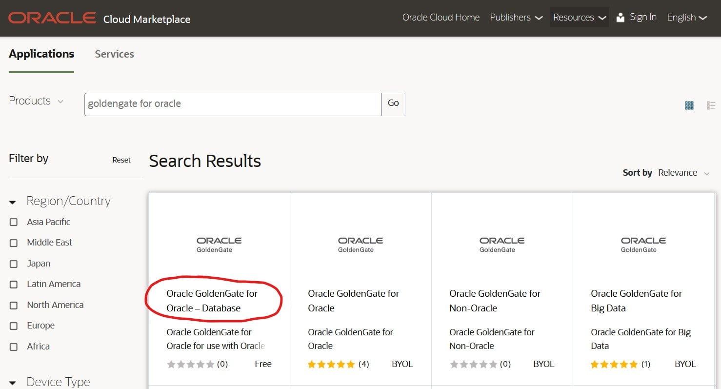 Use the OCI Marketplace to find the Oracle GoldenGate application