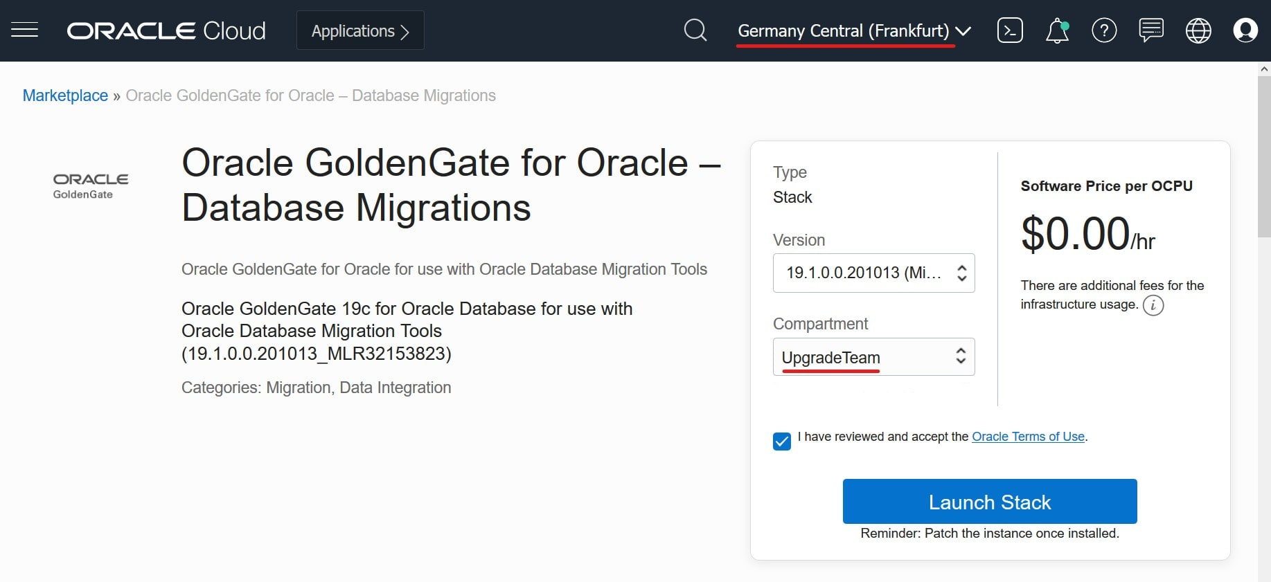 Launching an Oracle GoldenGate stack using OCI Marketplace
