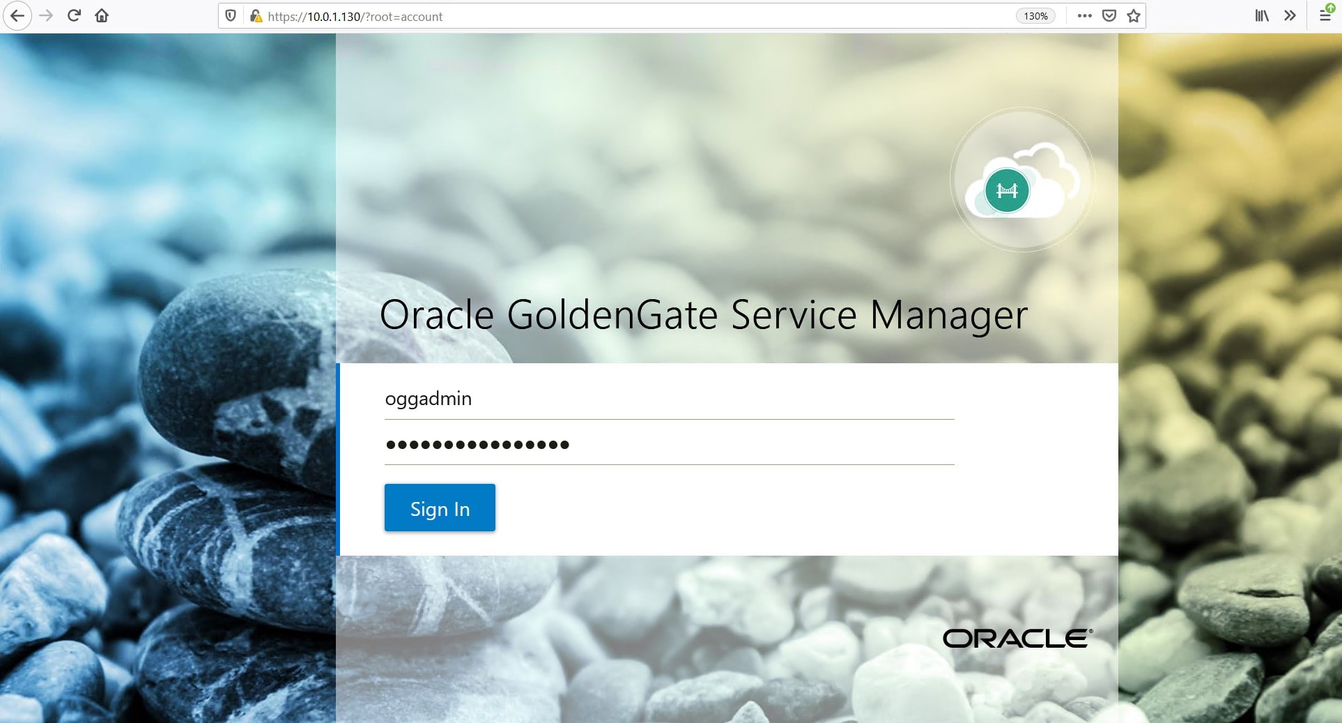 The log in prompt of Oracle GoldenGate