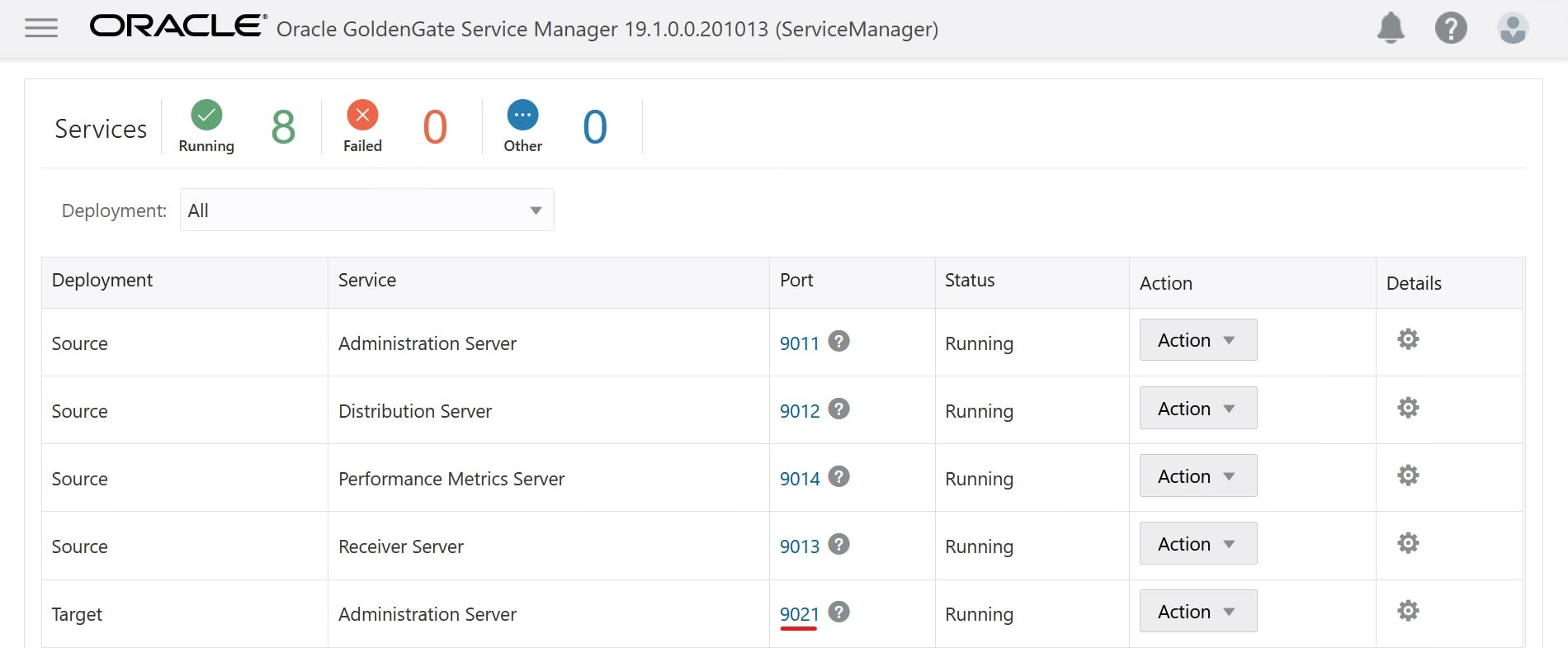 Follow the link to the target administration server to monitor the replicat process