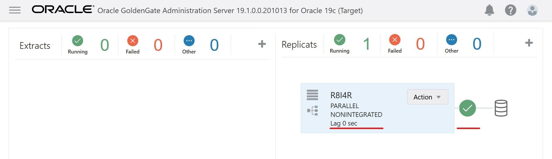 Ensure replicat process is running