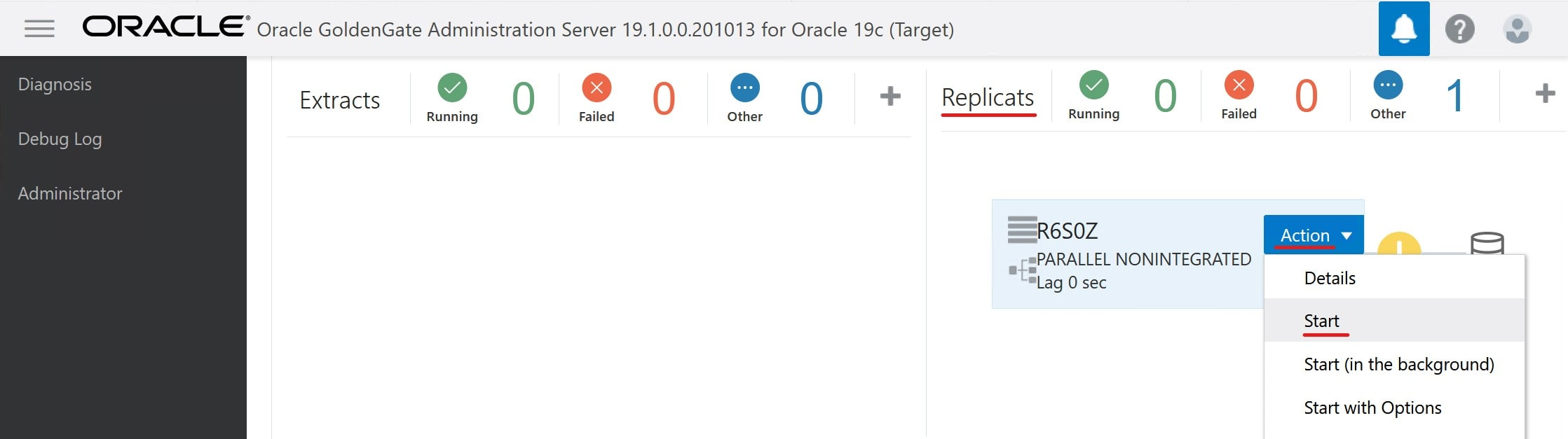 How to start replicat process in Oracle GoldenGate Microservices Architecture Hub
